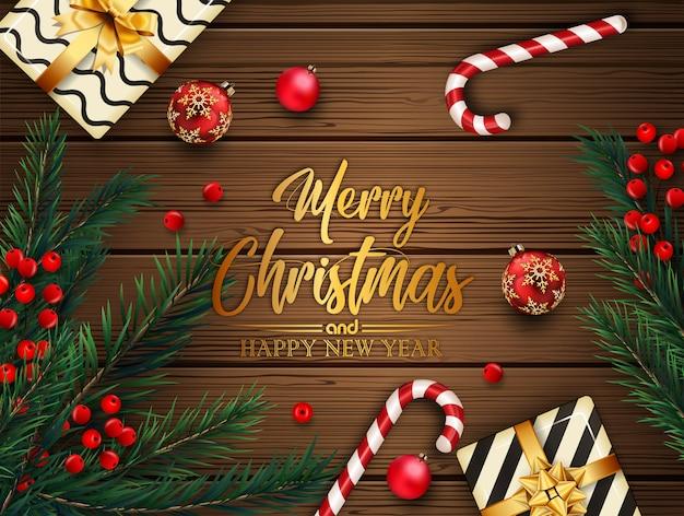 Fondo de navidad con bolas y ramas de abeto
