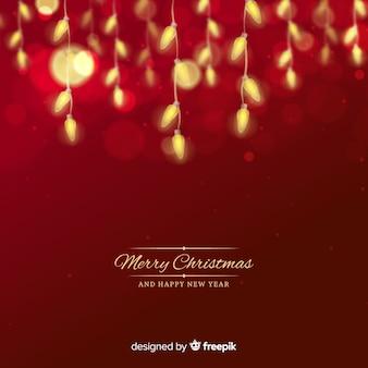 Fondo navidad bombillas borrosas