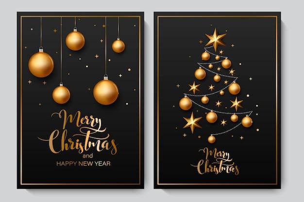 Fondo de navidad con brillantes bolas de oro.