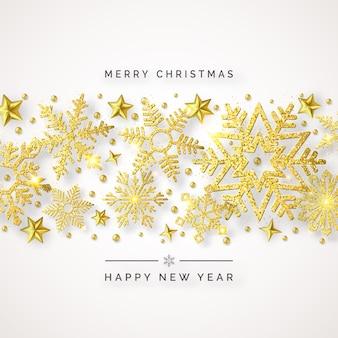 Fondo de navidad con brillantes copos de nieve dorados, bolas y estrellas