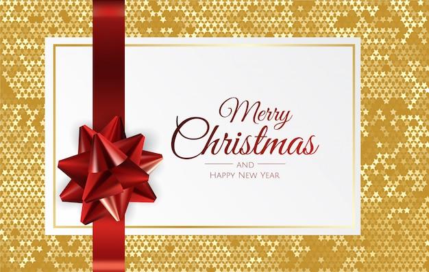 Fondo de navidad con caja de regalo y cinta