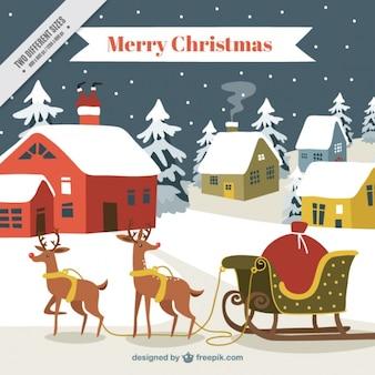 Fondo de navidad con ciervos y casas