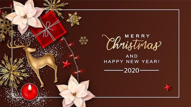 Fondo de navidad con ciervos dorados y flores de nochebuena