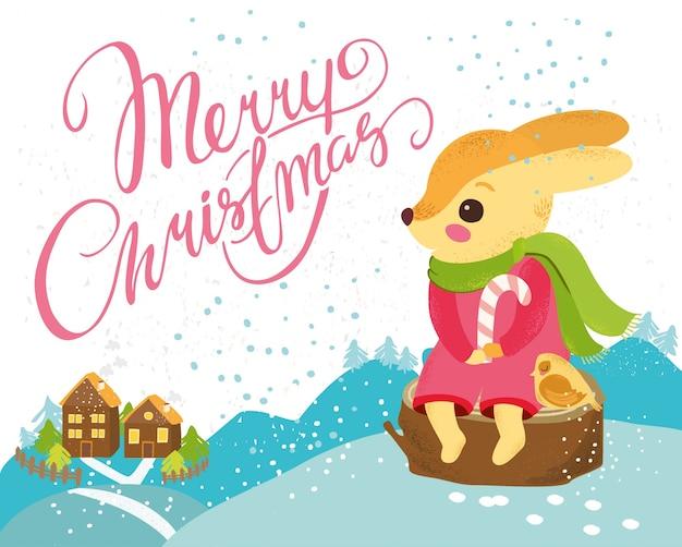 Fondo de navidad con conejo bonito