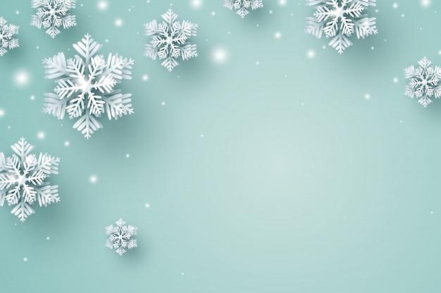 Fondo de navidad de copo de nieve y nieve cayendo en el invierno