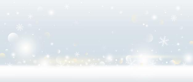 Fondo de navidad de copo de nieve y nieve cayendo con luces bokeh
