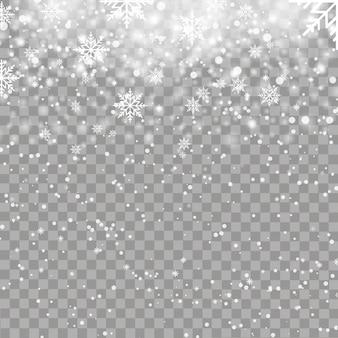 Fondo de navidad con copos de nieve cayendo. vector