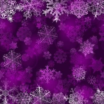 Fondo de navidad con copos de nieve en colores violetas