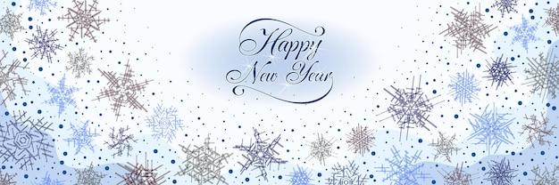 Fondo de navidad de copos de nieve, dibujo de año nuevo festivo