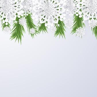 Fondo de navidad con copos de nieve y ramas de abeto