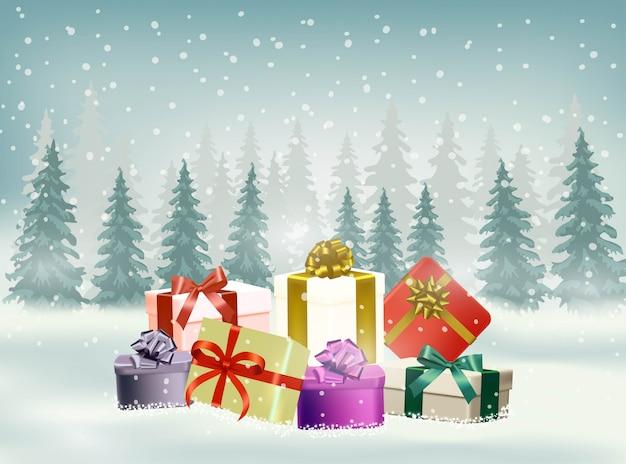 Fondo de navidad con copos de nieve y regalos