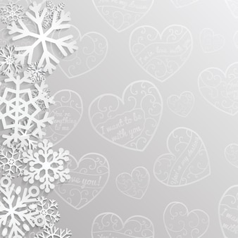 Fondo de navidad con corazones y copos de nieve en colores gris.