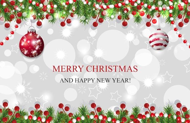 Fondo de navidad, decoración de año nuevo con ramas de abeto