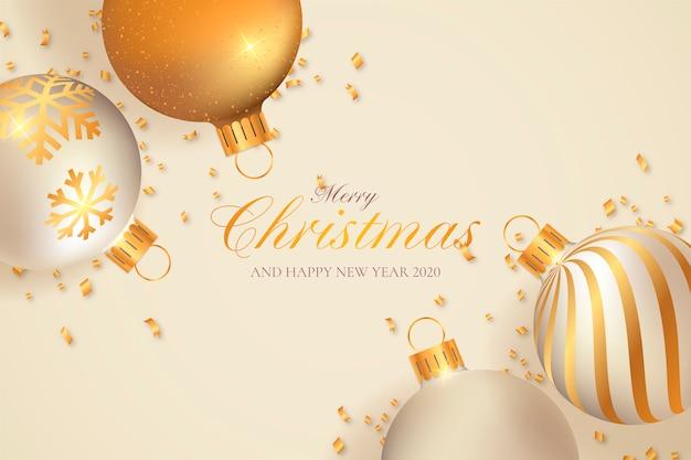 Fondo de navidad con decoración beige y dorada