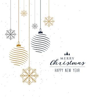 Fondo de navidad con decoración de bolas y copos de nieve