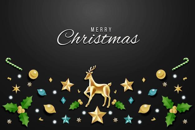 Fondo de navidad con decoración realista