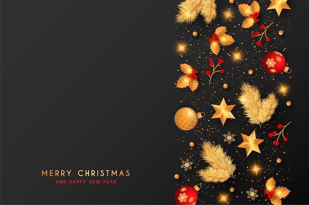 Fondo de navidad con decoración roja y dorada