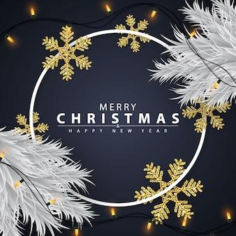 Fondo de navidad decorado con copos de nieve dorados