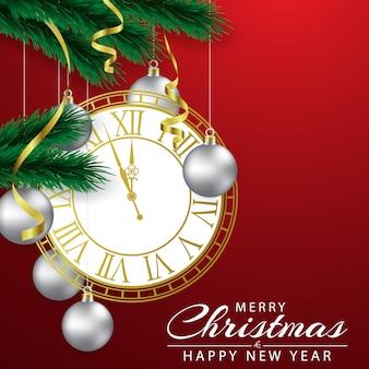 Fondo de navidad decorado con un reloj y una bola de plata.