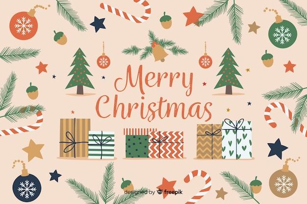 Fondo de navidad dibujado a mano con elementos de navidad