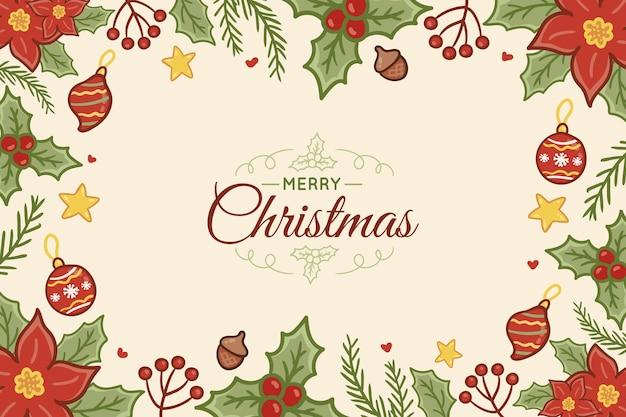 Fondo de navidad dibujado a mano con letras