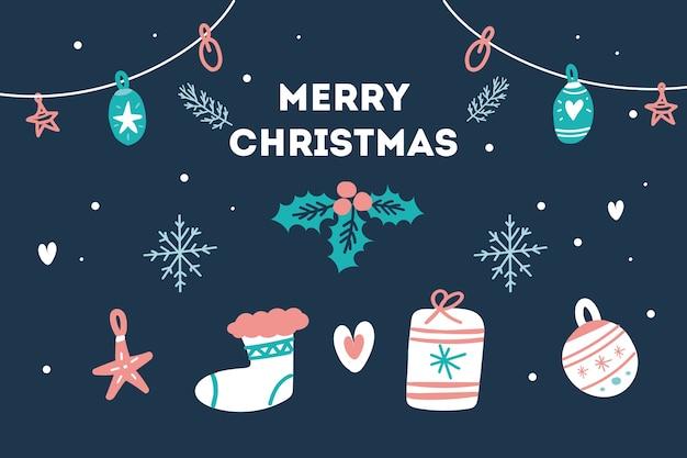 Fondo de navidad con diferentes elementos