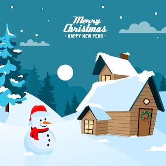 Fondo de navidad de diseño plano con muñeco de nieve