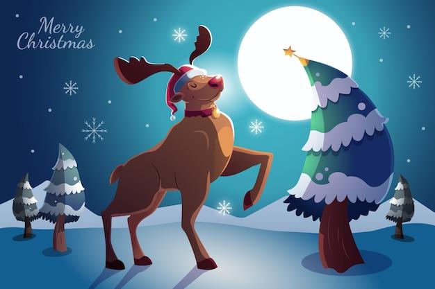 Fondo de navidad de diseño plano con renos