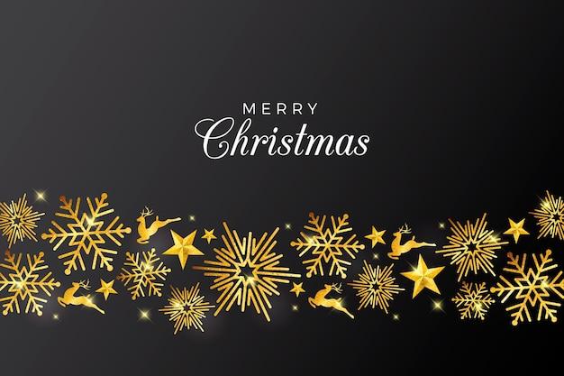 Fondo de navidad con elegantes decoraciones doradas