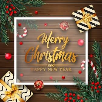 Fondo de navidad con elementos de navidad