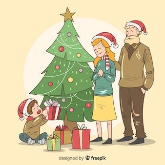 Fondo navidad escena familiar dibujada a mano