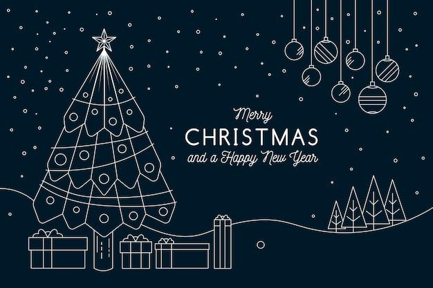 Fondo de navidad en estilo de contorno
