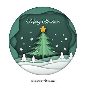Fondo de navidad en estilo papel