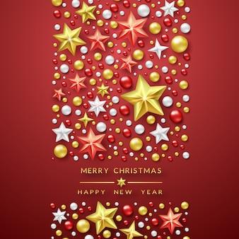 Fondo de navidad con estrellas brillantes y bolas coloridas