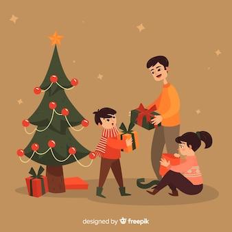 Fondo navidad familia compartiendo regalos
