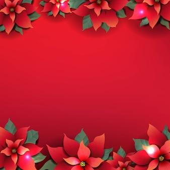 Fondo de navidad con flores rojas de nochebuena