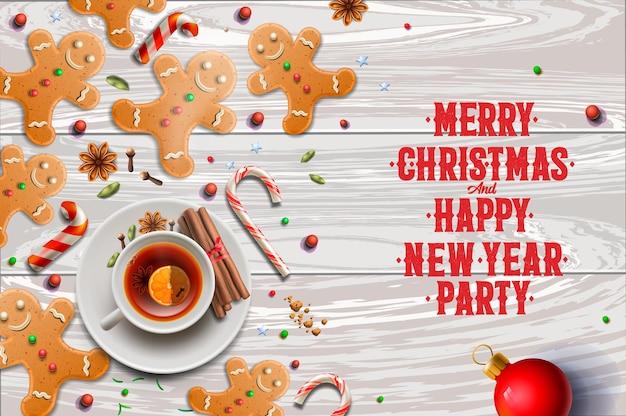 Fondo de navidad, galletas de jengibre, bastones de caramelo, imagen vectorial