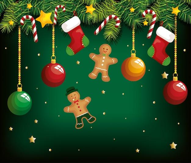 Fondo de navidad con galletas de jengibre colgando y decoración