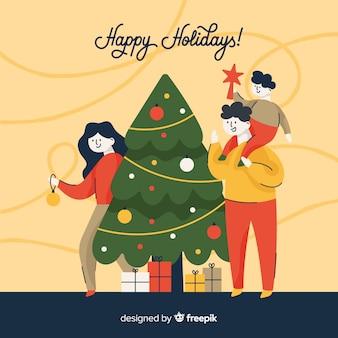 Fondo navidad gente decorando árbol de navidad