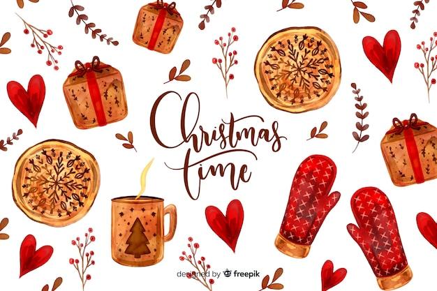 Fondo de navidad con guantes y regalos