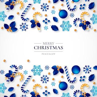 Fondo de navidad con hermosos adornos realistas