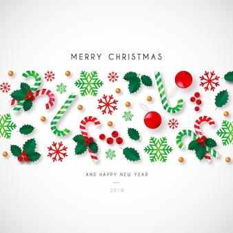 Fondo de navidad con hermosos adornos