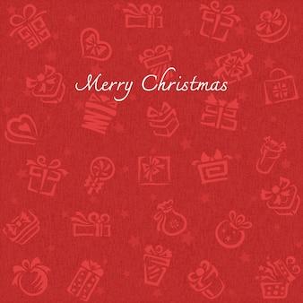 Fondo de navidad con iconos de caja de regalo