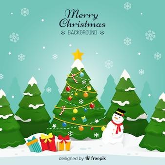 Fondo navidad ilustración árbol de navidad muñeco de nieve