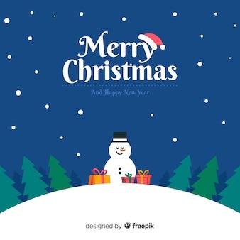 Fondo navidad ilustración muñeco de nieve