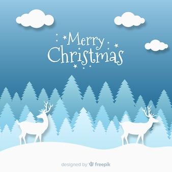 Fondo navidad ilustración renos bosque