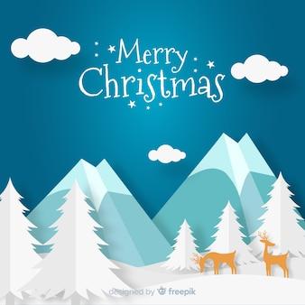 Fondo navidad ilustración renos montaña