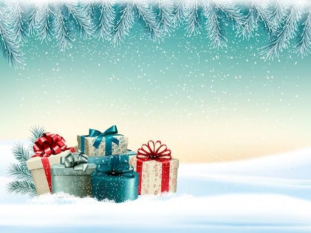 Fondo de navidad de invierno con coloridos regalos vector