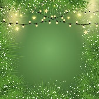 Fondo de navidad con luces y ramas de abeto