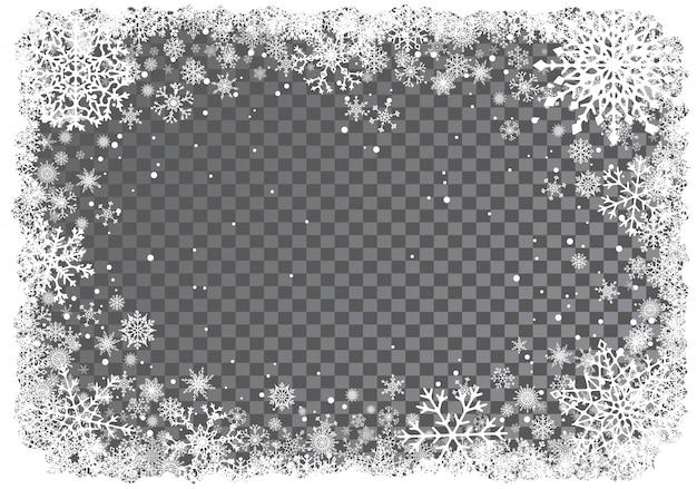 Fondo de navidad con marco de copos de nieve